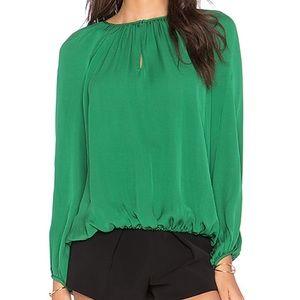 Diane Von Furstenberg Hathaway Silk Blouse Green S